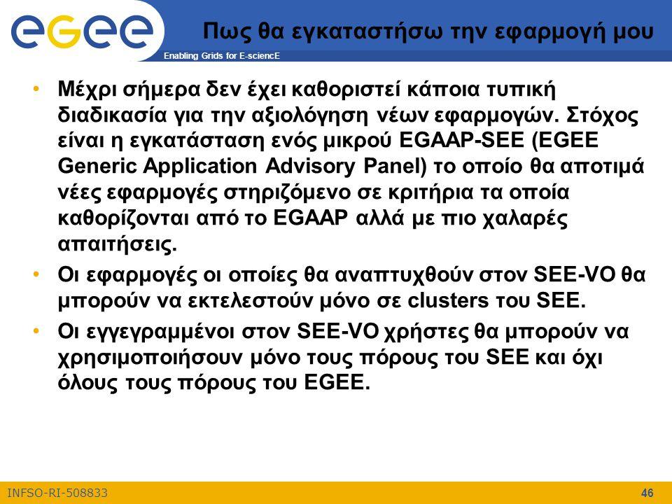 Enabling Grids for E-sciencE INFSO-RI-508833 46 Πως θα εγκαταστήσω την εφαρμογή μου Μέχρι σήμερα δεν έχει καθοριστεί κάποια τυπική διαδικασία για την αξιολόγηση νέων εφαρμογών.