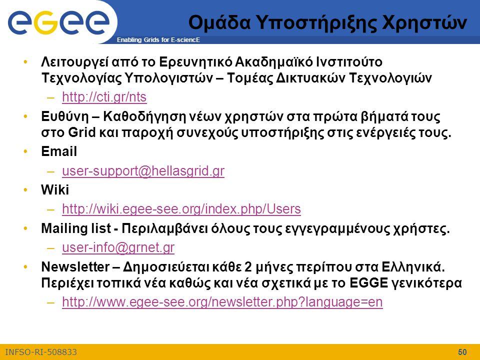 Enabling Grids for E-sciencE INFSO-RI-508833 50 Ομάδα Υποστήριξης Χρηστών Λειτουργεί από το Ερευνητικό Ακαδημαϊκό Ινστιτούτο Τεχνολογίας Υπολογιστών – Τομέας Δικτυακών Τεχνολογιών –http://cti.gr/ntshttp://cti.gr/nts Ευθύνη – Καθοδήγηση νέων χρηστών στα πρώτα βήματά τους στο Grid και παροχή συνεχούς υποστήριξης στις ενέργειές τους.
