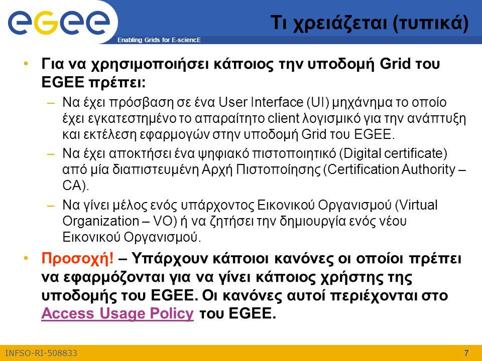 Enabling Grids for E-sciencE INFSO-RI-508833 7 Τι χρειάζεται (τυπικά) Για να χρησιμοποιήσει κάποιος την υποδομή Grid του EGEE πρέπει: –Να έχει πρόσβαση σε ένα User Interface (UI) μηχάνημα το οποίο έχει εγκατεστημένο το απαραίτητο client λογισμικό για την ανάπτυξη και εκτέλεση εφαρμογών στην υποδομή Grid του EGEE.