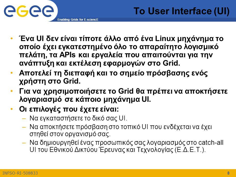 Enabling Grids for E-sciencE INFSO-RI-508833 8 Το User Interface (UI) Ένα UI δεν είναι τίποτε άλλο από ένα Linux μηχάνημα το οποίο έχει εγκατεστημένο όλο το απαραίτητο λογισμικό πελάτη, τα APIs και εργαλεία που απαιτούνται για την ανάπτυξη και εκτέλεση εφαρμογών στο Grid.