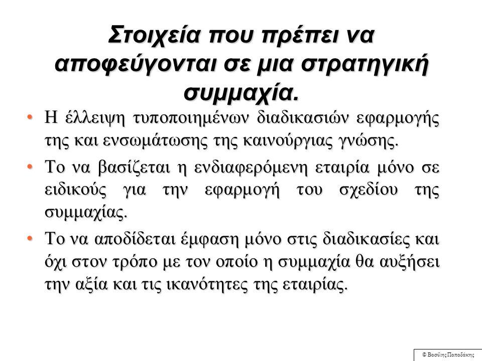 © Βασίλης Παπαδάκης ΠΙΝΑΚΑΣ 11: 3: ΣΧΕΣΕΙΣ ΕΠΙΧΕΙΡΗΣΙΑΚΩΝ ΧΑΡΑΚΤΗΡΙΣΤΙΚΩΝ ΚΑΙ ΚΙΝHΤΡΩΝ ΔΗΜΙΟΥΡΓΙΑΣ ΣΤΡΑΤΗΓΙΚΩΝ ΣΥΜΜΑΧΙΩΝ ΒΑΣΙΚΑ ΚΙΝΗΤΡΑ Εντάσεως κεφαλαίου Εντάσεως κεφαλαίου Εντάσεως εργασίας Εντάσεως εργασίας Διαφοροποιημένα προϊόντα Διαφοροποιημένα προϊόντα Υψηλή τεχνολογική πολυπλοκότητα Υψηλή τεχνολογική πολυπλοκότητα Νέα επιχείρηση με εμβρυακή δομή Νέα επιχείρηση με εμβρυακή δομή Ταχεία ανάπτυξη πωλήσεων Ταχεία ανάπτυξη πωλήσεων Παγκοσμιοποιημένες επιχειρήσεις Παγκοσμιοποιημένες επιχειρήσεις Ομοιόμορφα προϊόντα Ομοιόμορφα προϊόντα Χαμηλή τεχνολογική πολυπλοκότητα Χαμηλή τεχνολογική πολυπλοκότητα Ώριμη επι- χείρηση με καθιερωμένη δομή Ώριμη επι- χείρηση με καθιερωμένη δομή Αργή ανάπτυξη πωλήσεων Αργή ανάπτυξη πωλήσεων Τοπικές επιχειρήσεις Τοπικές επιχειρήσεις Επιμερισμός κινδύνου Οικονομίες κλίμακας Επιμερισμός κινδύνου Οικονομίες κλίμακας Πρόσβαση αγοράς Πρόσβαση τεχνολογίας Πρόσβαση αγοράς Πρόσβαση τεχνολογίας Πρόσβαση τεχνολογίας Πρόσβαση τεχνολογίας Επιμερισμός κινδύνου Χρηματοδο- τικοί περιορι- σμοί Επιμερισμός κινδύνου Χρηματοδο- τικοί περιορι- σμοί Μείωση κινδύνου Μείωση κινδύνου Γεωγραφική πρόσβαση Γεωγραφική πρόσβαση Ελάχιστα / κανένα Ελάχιστα / κανένα Οικονομίες κλίμακας Οικονομίες κλίμακας Οικονομίες κλίμακας Οικονομίες κλίμακας πρόσβαση αγοράς πρόσβαση αγοράς Οικονομίες κλίμακας Οικονομίες κλίμακας Όλα Διαστάσεις επιχειρησιακών χαρακτηριστικών Προσαρμογή από Pekar (1996)