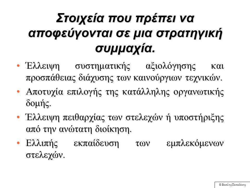 © Βασίλης Παπαδάκης Στοιχεία που πρέπει να αποφεύγονται σε μια στρατηγική συμμαχία. Η έλλειψη τυποποιημένων διαδικασιών εφαρμογής της και ενσωμάτωσης