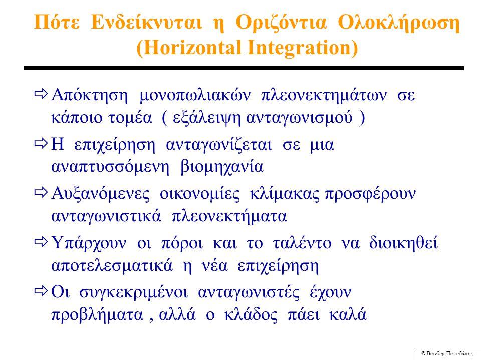 © Βασίλης Παπαδάκης Mειονεκτήματα της Κάθετης Ολοκλήρωσης ( προς τα εμπρός ή προς τα πίσω ) ΕΣΩΤΕΡΙΚΑ ΚΟΣΤΗ Πιθανό ' βάρος ' υπερβάλλουσας παραγωγής (