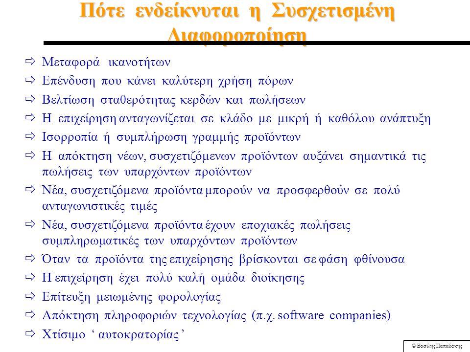 © Βασίλης Παπαδάκης Πότε Ενδείκνυται η Οριζόντια Ολοκλήρωση (Horizontal Integration)  Aπόκτηση μονοπωλιακών πλεονεκτημάτων σε κάποιο τομέα ( εξάλειψη ανταγωνισμού )  Η επιχείρηση ανταγωνίζεται σε μια αναπτυσσόμενη βιομηχανία  Αυξανόμενες οικονομίες κλίμακας προσφέρουν ανταγωνιστικά πλεονεκτήματα  Υπάρχουν οι πόροι και το ταλέντο να διοικηθεί αποτελεσματικά η νέα επιχείρηση  Οι συγκεκριμένοι ανταγωνιστές έχουν προβλήματα, αλλά ο κλάδος πάει καλά
