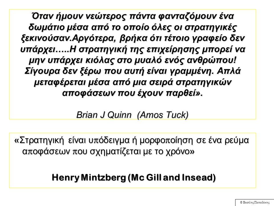 © Βασίλης Παπαδάκης Τρία Επίπεδα Στρατηγικής Εταιρική/Επιχειρηματική Στρατηγική (Corporate Strategy) Στρατηγική Επιχειρηματικής Μονάδας ή Ανταγωνιστική Στρατηγική (Business Level Strategy) Στρατηγική Επιμέρους Λειτουργιών (Functional Strategies) 'Στρατηγείο' Corporate Head Office Επιχείρηση A Επιχείρηση B R & D Human Resources Finance Production Marketing/Sales R & D HR Finance Production Marketing/S ales