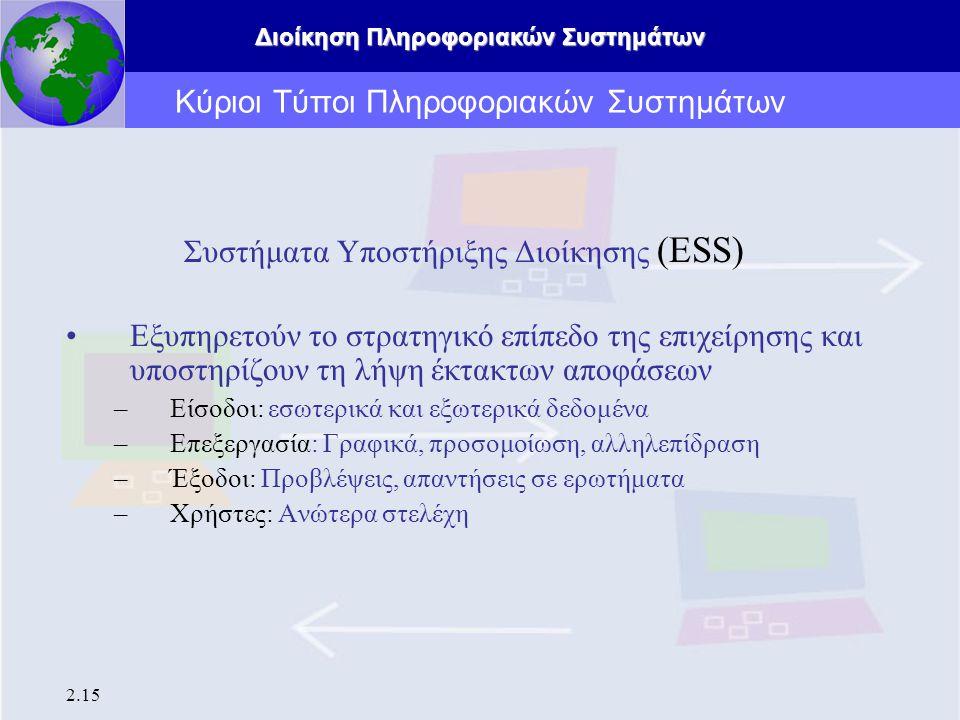 Διοίκηση Πληροφοριακών Συστημάτων 2.15 Κύριοι Τύποι Πληροφοριακών Συστημάτων Συστήματα Υποστήριξης Διοίκησης (ESS) Εξυπηρετούν το στρατηγικό επίπεδο τ