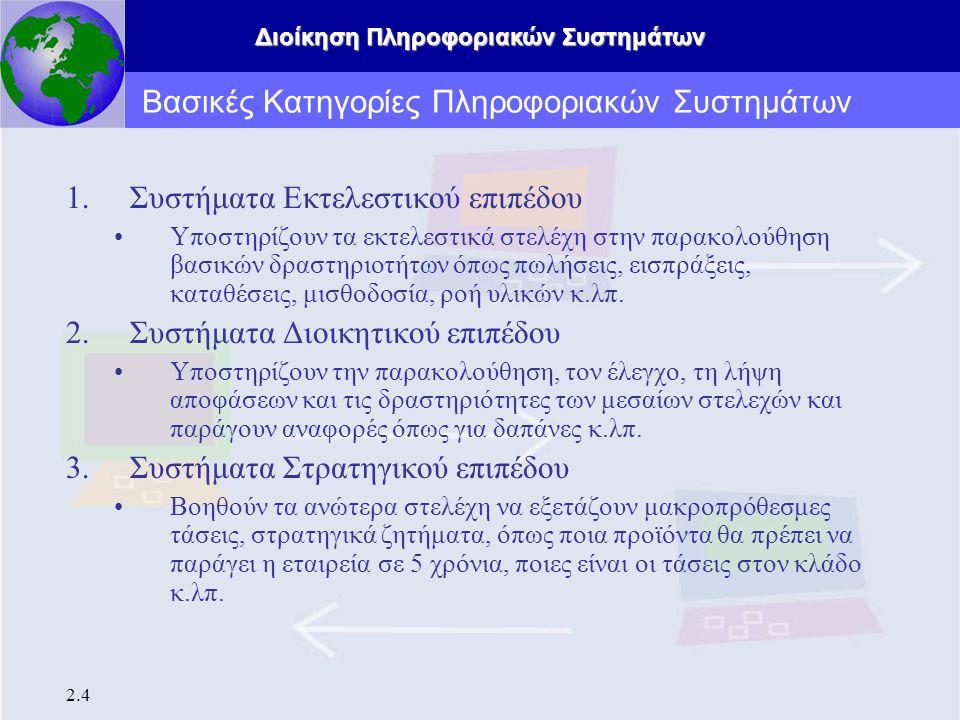 Διοίκηση Πληροφοριακών Συστημάτων 2.4 Βασικές Κατηγορίες Πληροφοριακών Συστημάτων 1.Συστήματα Εκτελεστικού επιπέδου Υποστηρίζουν τα εκτελεστικά στελέχ