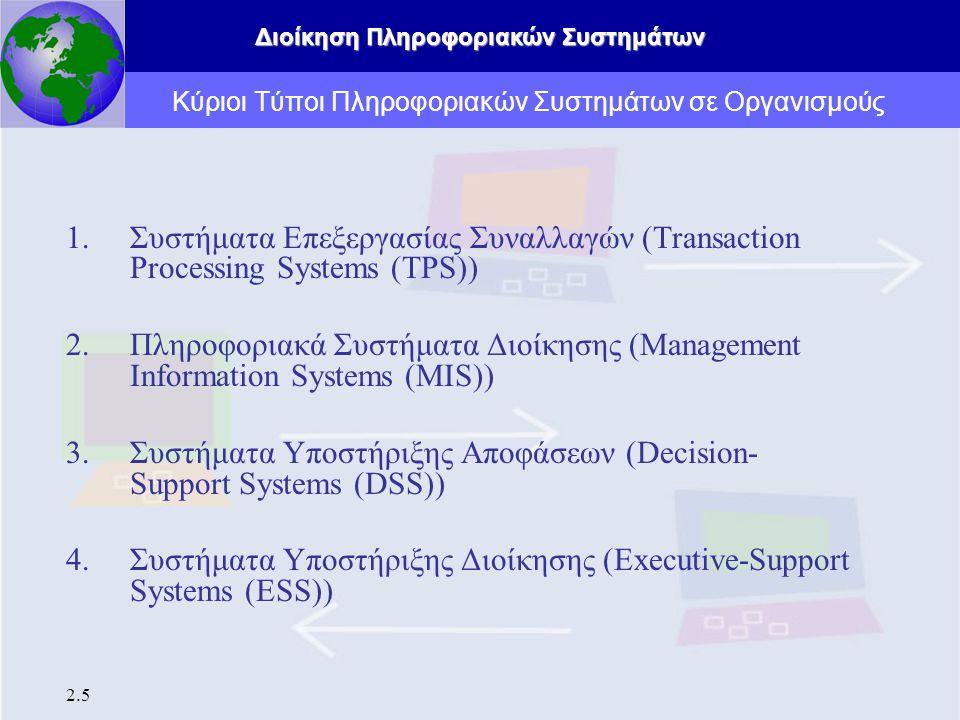 Διοίκηση Πληροφοριακών Συστημάτων 2.5 Κύριοι Τύποι Πληροφοριακών Συστημάτων σε Οργανισμούς 1.Συστήματα Επεξεργασίας Συναλλαγών (Transaction Processing