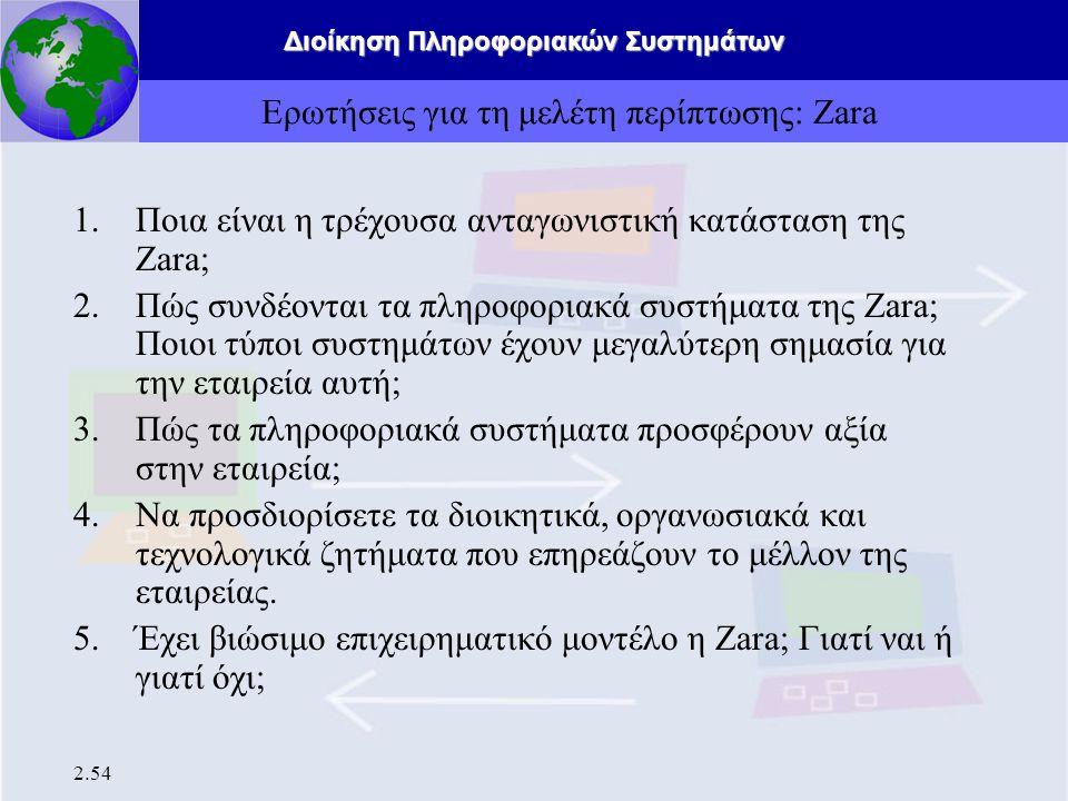 Διοίκηση Πληροφοριακών Συστημάτων 2.54 Ερωτήσεις για τη μελέτη περίπτωσης: Zara 1.Ποια είναι η τρέχουσα ανταγωνιστική κατάσταση της Zara; 2. Πώς συνδέ