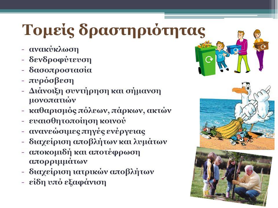 -ανακύκλωση -δενδροφύτευση -δασοπροστασία -πυρόσβεση -Διάνοιξη συντήρηση και σήμανση μονοπατιών -καθαρισμός πόλεων, πάρκων, ακτών -ευαισθητοποίηση κοι