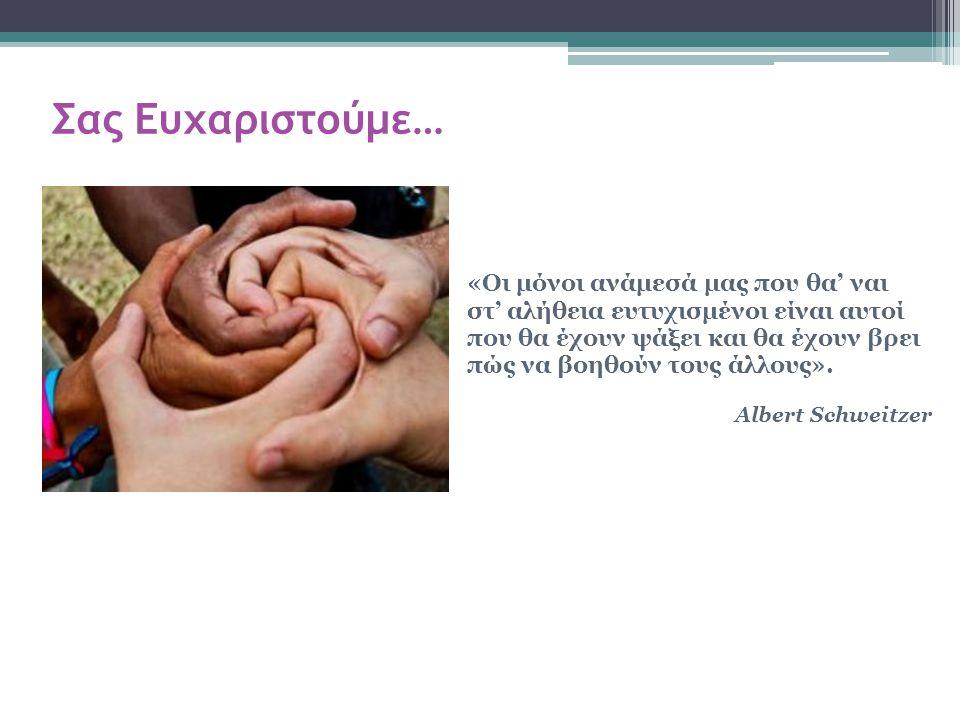 «Οι μόνοι ανάμεσά μας που θα' ναι στ' αλήθεια ευτυχισμένοι είναι αυτοί που θα έχουν ψάξει και θα έχουν βρει πώς να βοηθούν τους άλλους». Albert Schwei