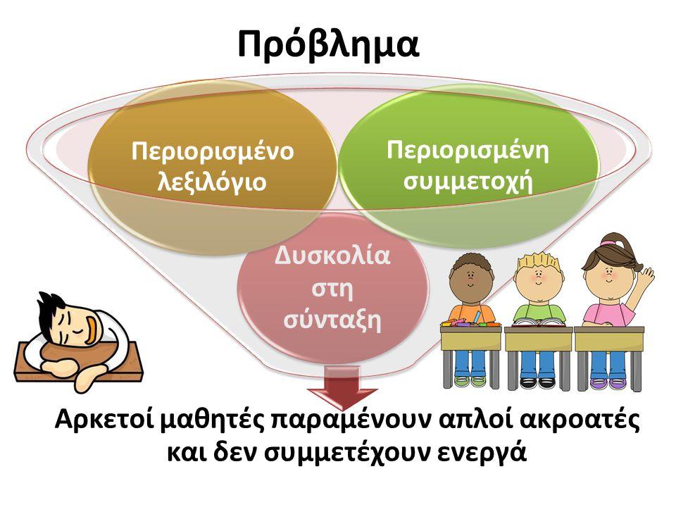 Στόχοι Ανάπτυξη προφορικού λόγου Ενεργότερη προφορική συμμετοχή