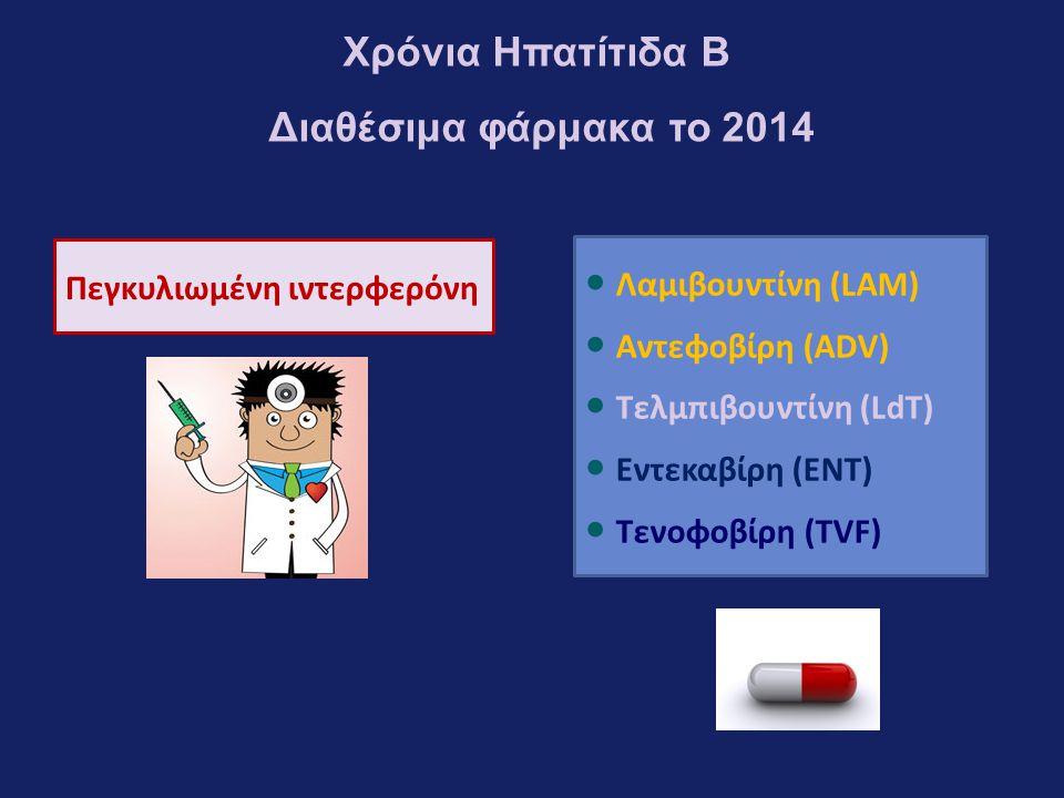 Πεγκυλιωμένη ιντερφερόνη ● Λαμιβουντίνη (LAM) ● Αντεφοβίρη (ADV) ● Τελμπιβουντίνη (LdT) ● Εντεκαβίρη (ENT) ● Τενοφοβίρη (TVF) Χρόνια Ηπατίτιδα Β Διαθέσιμα φάρμακα το 2014