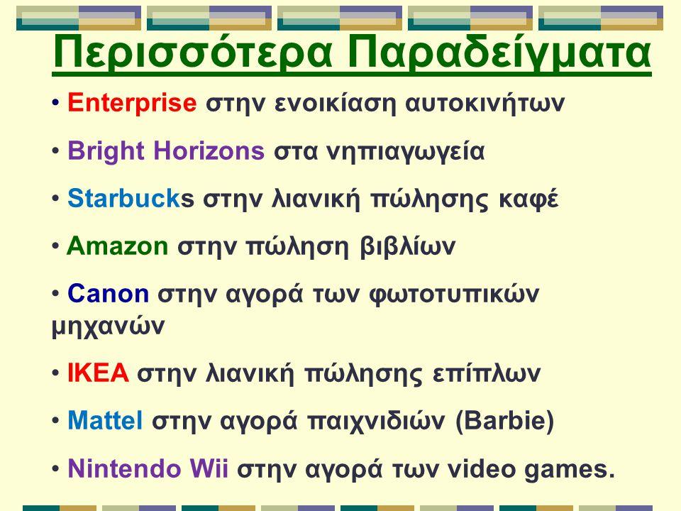 Enterprise στην ενοικίαση αυτοκινήτων Bright Horizons στα νηπιαγωγεία Starbucks στην λιανική πώλησης καφέ Amazon στην πώληση βιβλίων Canon στην αγορά των φωτοτυπικών μηχανών IKEA στην λιανική πώλησης επίπλων Mattel στην αγορά παιχνιδιών (Barbie) Nintendo Wii στην αγορά των video games.