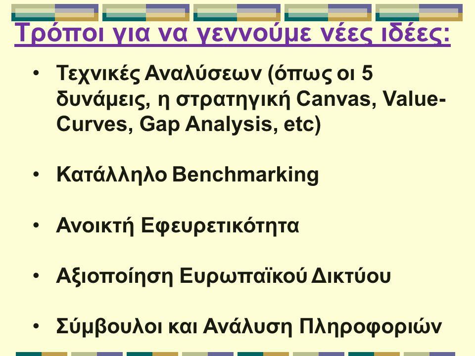 Τρόποι για να γεννούμε νέες ιδέες: Τεχνικές Αναλύσεων (όπως οι 5 δυνάμεις, η στρατηγική Canvas, Value- Curves, Gap Analysis, etc) Κατάλληλο Benchmarking Ανοικτή Εφευρετικότητα Αξιοποίηση Ευρωπαϊκού Δικτύου Σύμβουλοι και Ανάλυση Πληροφοριών