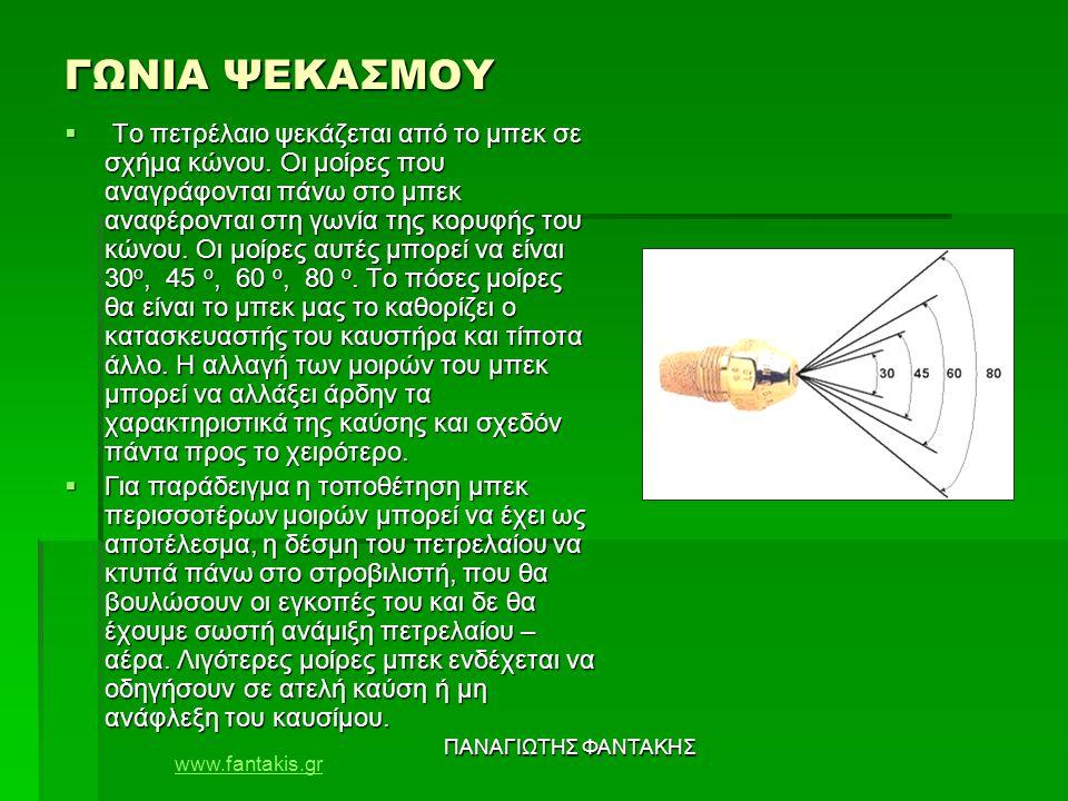 www.fantakis.gr ΠΑΝΑΓΙΩΤΗΣ ΦΑΝΤΑΚΗΣ ΓΩΝΙΑ ΨΕΚΑΣΜΟΥ  Το πετρέλαιο ψεκάζεται από το μπεκ σε σχήμα κώνου. Οι μοίρες που αναγράφονται πάνω στο μπεκ αναφέ