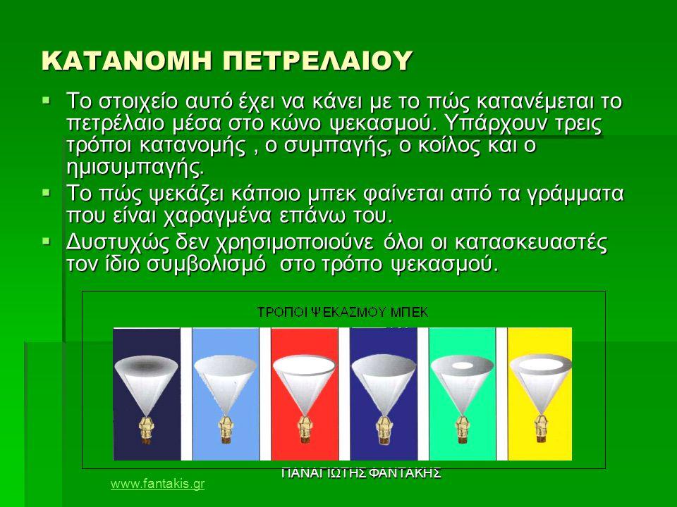 www.fantakis.gr ΠΑΝΑΓΙΩΤΗΣ ΦΑΝΤΑΚΗΣ ΚΑΤΑΝΟΜΗ ΠΕΤΡΕΛΑΙΟΥ  Το στοιχείο αυτό έχει να κάνει με το πώς κατανέμεται το πετρέλαιο μέσα στο κώνο ψεκασμού. Υπ