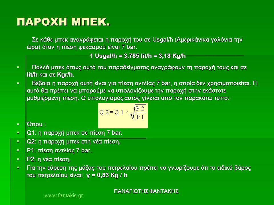 www.fantakis.gr ΠΑΝΑΓΙΩΤΗΣ ΦΑΝΤΑΚΗΣ ΠΙΝΑΚΑΣ ΠΑΡΟΧΗΣ ΜΠΕΚ Για ιξώδες πετρελαίου 4,4 mm2 / s και ειδικό βάρος 0,83.