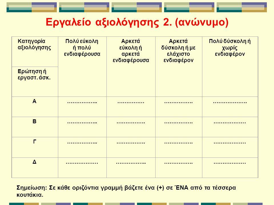 Εργαλείο αξιολόγησης 2. (ανώνυμο) Κατηγορία αξιολόγησης Πολύ εύκολη ή πολύ ενδιαφέρουσα Αρκετά εύκολη ή αρκετά ενδιαφέρουσα Αρκετά δύσκολη ή με ελάχισ