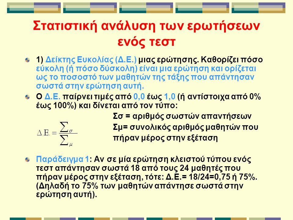 Στατιστική ανάλυση των ερωτήσεων ενός τεστ 1) Δείκτης Ευκολίας (Δ.Ε.) μιας ερώτησης. Καθορίζει πόσο εύκολη (ή πόσο δύσκολη) είναι μια ερώτηση και ορίζ
