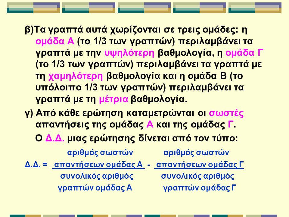 β)Τα γραπτά αυτά χωρίζονται σε τρεις ομάδες: η ομάδα Α (το 1/3 των γραπτών) περιλαμβάνει τα γραπτά με την υψηλότερη βαθμολογία, η ομάδα Γ (το 1/3 των