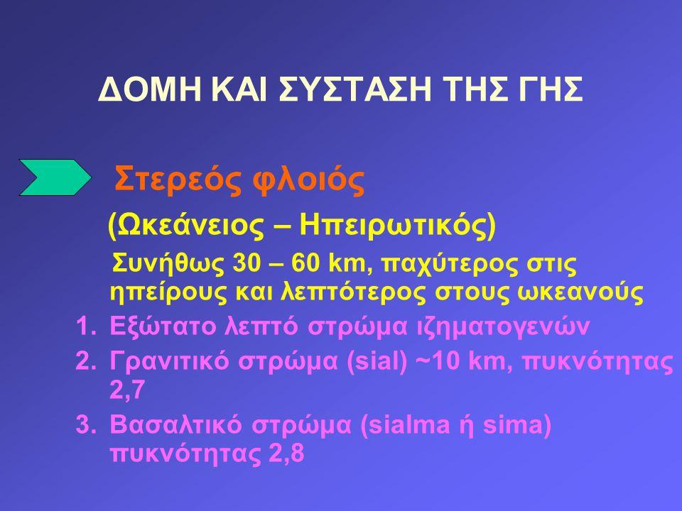 Στερεός φλοιός (Ωκεάνειος – Ηπειρωτικός) Συνήθως 30 – 60 km, παχύτερος στις ηπείρους και λεπτότερος στους ωκεανούς 1.Εξώτατο λεπτό στρώμα ιζηματογενών