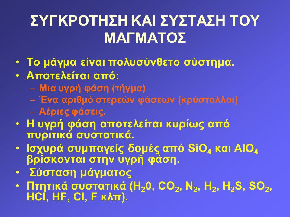 ΣΥΓΚΡΟΤΗΣΗ ΚΑΙ ΣΥΣΤΑΣΗ ΤΟΥ ΜΑΓΜΑΤΟΣ Το μάγμα είναι πολυσύνθετο σύστημα. Αποτελείται από: –Μια υγρή φάση (τήγμα) –Ένα αριθμό στερεών φάσεων (κρύσταλλοι