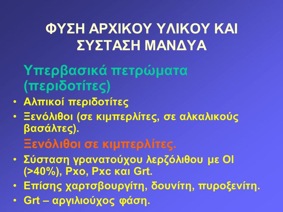 ΦΥΣΗ ΑΡΧΙΚΟΥ ΥΛΙΚΟΥ ΚΑΙ ΣΥΣΤΑΣΗ ΜΑΝΔΥΑ Υπερβασικά πετρώματα (περιδοτίτες) Αλπικοί περιδοτίτες Ξενόλιθοι (σε κιμπερλίτες, σε αλκαλικούς βασάλτες). Ξενό