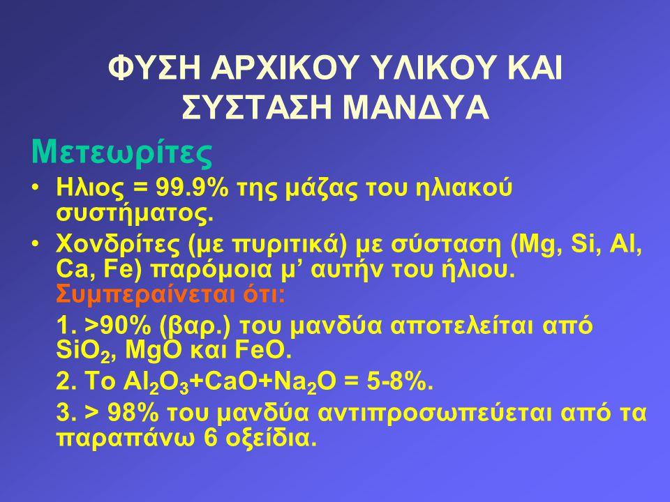 ΦΥΣΗ ΑΡΧΙΚΟΥ ΥΛΙΚΟΥ ΚΑΙ ΣΥΣΤΑΣΗ ΜΑΝΔΥΑ Μετεωρίτες Ηλιος = 99.9% της μάζας του ηλιακού συστήματος. Χονδρίτες (με πυριτικά) με σύσταση (Mg, Si, Al, Ca,