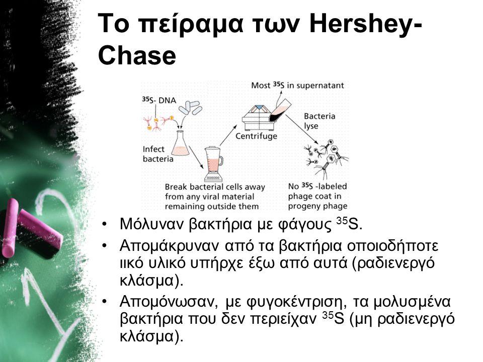 Το πείραμα των Hershey- Chase Για τη δημιουργία φάγων με ιχνηθετημένες πρωτεΐνες, μόλυναν με φάγους βακτήρια που είχαν ενσωματώσει 35 S. Οι φάγοι αναπ