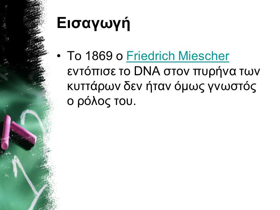 ΚΕΦΑΛΑΙΟ 1 ο Το DNA είναι φορέας της γενετικής πληροφορίας