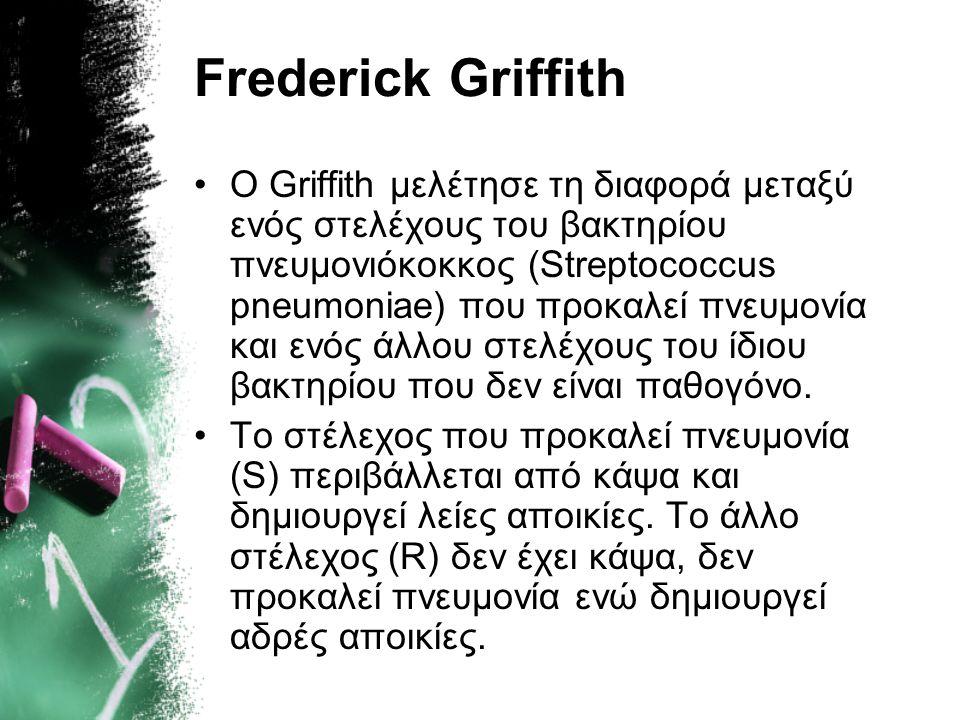 1928 Ο Frederick Griffith παρατηρεί τον μετασχηματισμό των βακτηρίων, δεν μπορεί όμως να εντοπίσει τον παράγοντα που προκαλεί το μετασχηματισμό.Freder