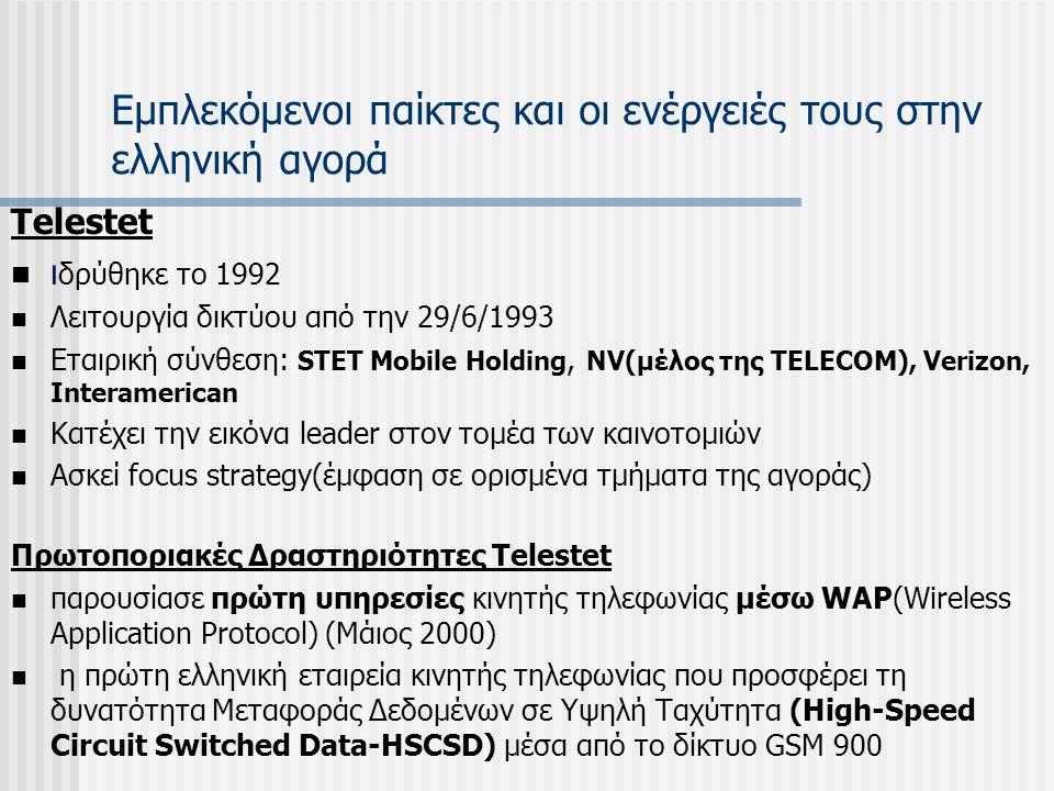 Εμπλεκόμενοι παίκτες και οι ενέργειές τους στην ελληνική αγορά Telestet ι δρύθηκε το 1992 Λειτουργία δικτύου από την 29/6/1993 Εταιρική σύνθεση: STET