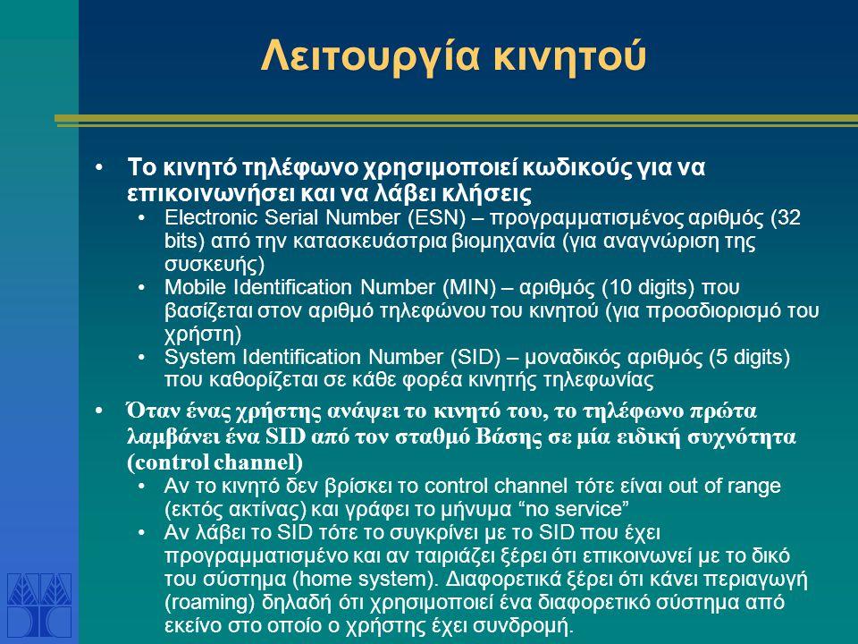 Λειτουργία κινητού Το κινητό τηλέφωνο χρησιμοποιεί κωδικούς για να επικοινωνήσει και να λάβει κλήσεις Electronic Serial Number (ESN) – προγραμματισμέν