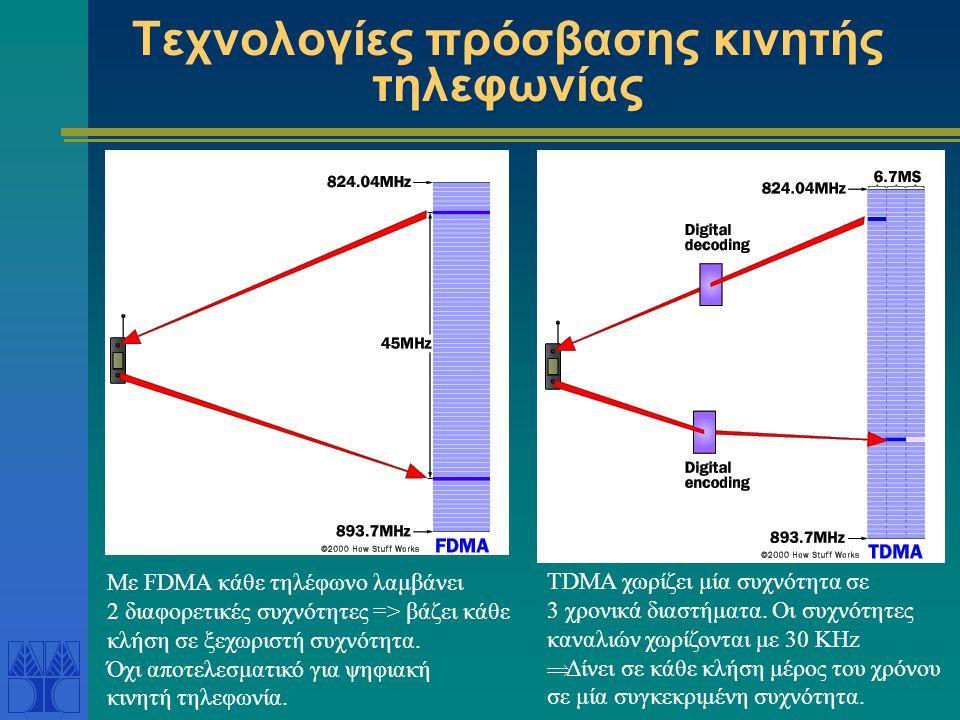 Τεχνολογίες πρόσβασης κινητής τηλεφωνίας TDMA χωρίζει μία συχνότητα σε 3 χρονικά διαστήματα. Οι συχνότητες καναλιών χωρίζονται με 30 KHz  Δίνει σε κά