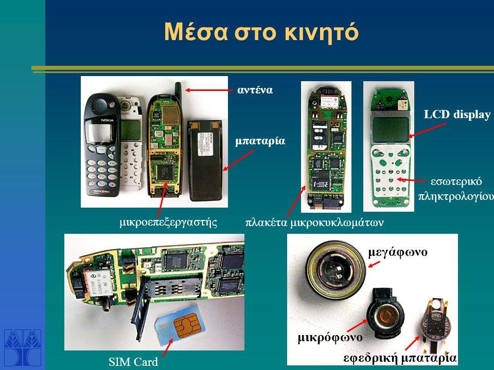 Μέσα στο κινητό μεγάφωνο μικρόφωνο εφεδρική μπαταρία SIM Card μικροεπεξεργαστής μπαταρία LCD display αντένα εσωτερικό πληκτρολογίου πλακέτα μικροκυκλωμάτων
