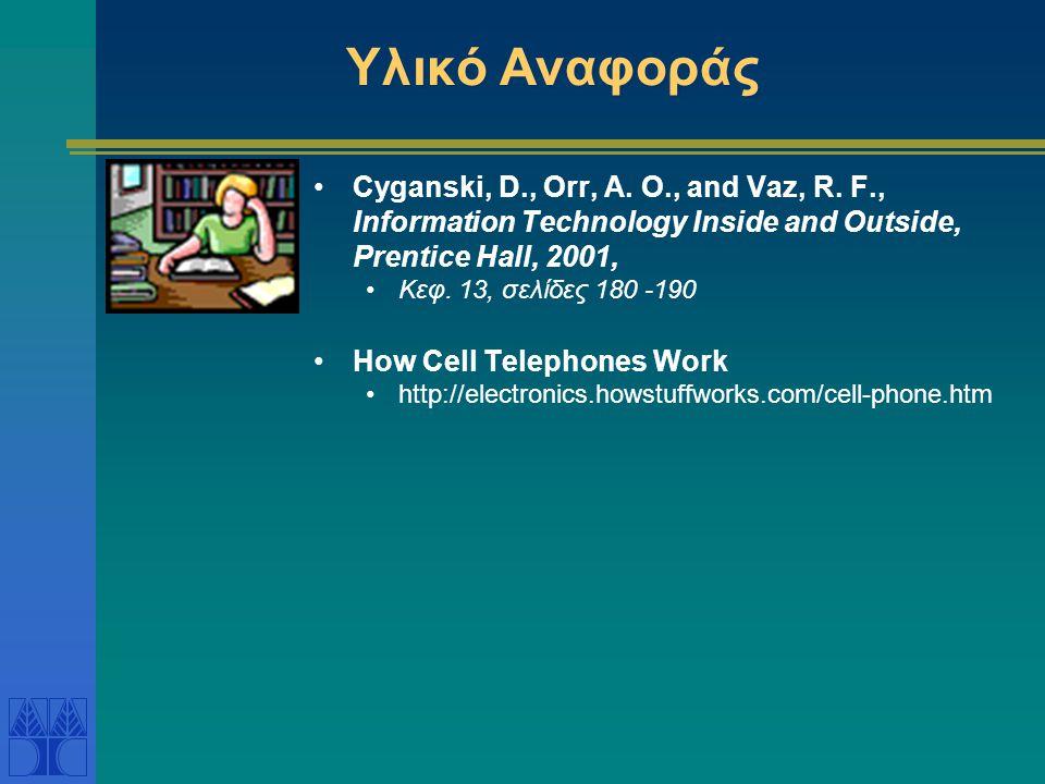 Συστήματα κινητής τηλεφωνίας Αναλογικά κινητά τηλέφωνα (Πρώτη Γενιά): AMPS (Advanced Mobile Phone System) από τις αρχές του 1980 στις ΗΠΑ Συχνότητες 824 – 894 MHz Κάθε χρήστης λαμβάνει 2 σταθερές συχνότητες για την διάρκεια της συνομιλίας Δηλ.