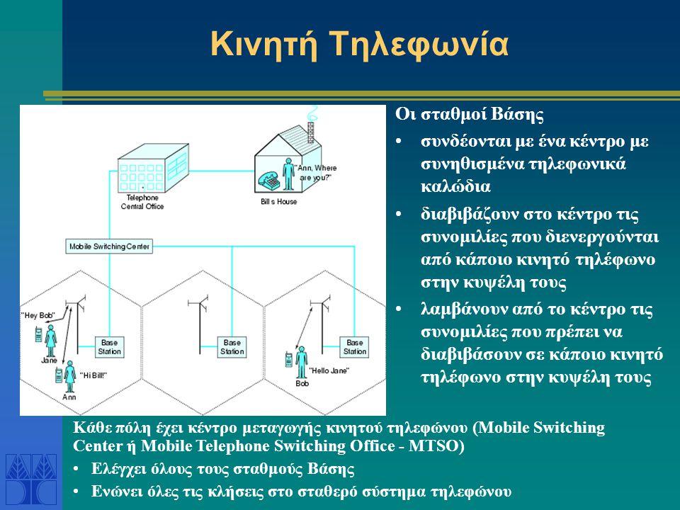 Χρήση ραδιοσυχνοτήτων Κάθε κινητό τηλέφωνο χρησιμοποιεί 2 συχνότητες για αμφίδρομη επικοινωνία Υπάρχουν 832 ραδιοσυχνότητες για μία πόλη: 790 για φωνή και 42 για δεδομένα => υπάρχουν 395 κανάλια συνομιλίας Το ραδιοσήμα του σταθμού Βάσης δεν είναι υπερβολικά ισχυρό για να μην δημιουργεί παρεμβολές στα σήματα της επόμενης κυψέλης => οι ίδιες συχνότητες χρησιμοποιούνται σε κυψέλες που δεν είναι γειτονικές (π.χ.