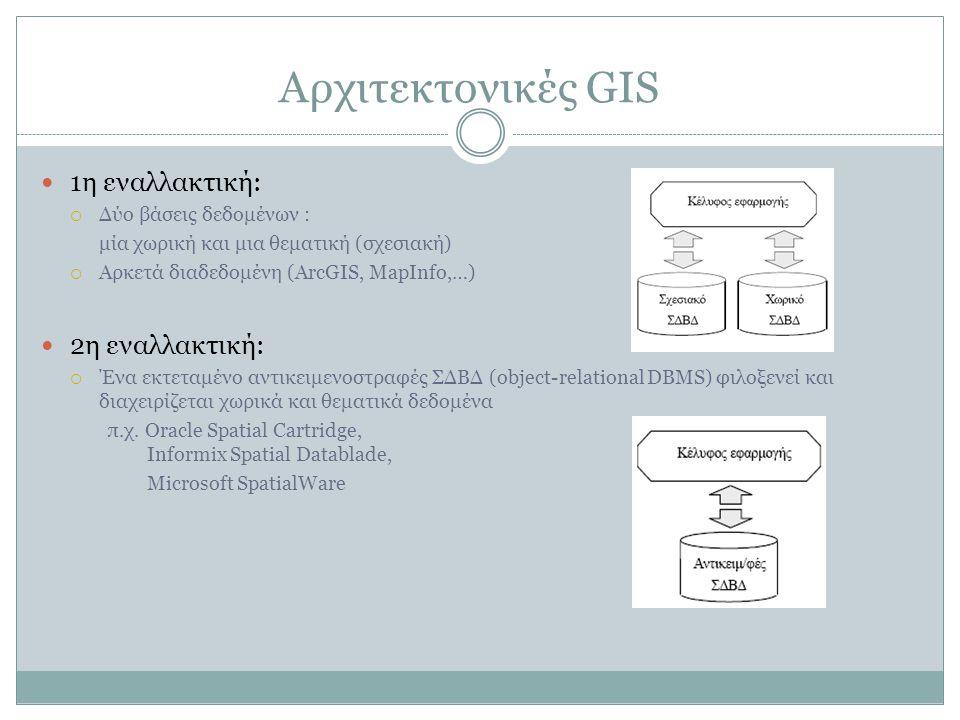 Αρχιτεκτονικές GIS 1η εναλλακτική:  Δύο βάσεις δεδομένων : μία χωρική και μια θεματική (σχεσιακή)  Αρκετά διαδεδομένη (ArcGIS, MapInfo,…) 2η εναλλακτική:  Ένα εκτεταμένο αντικειμενοστραφές ΣΔΒΔ (object-relational DBMS) φιλοξενεί και διαχειρίζεται χωρικά και θεματικά δεδομένα π.χ.