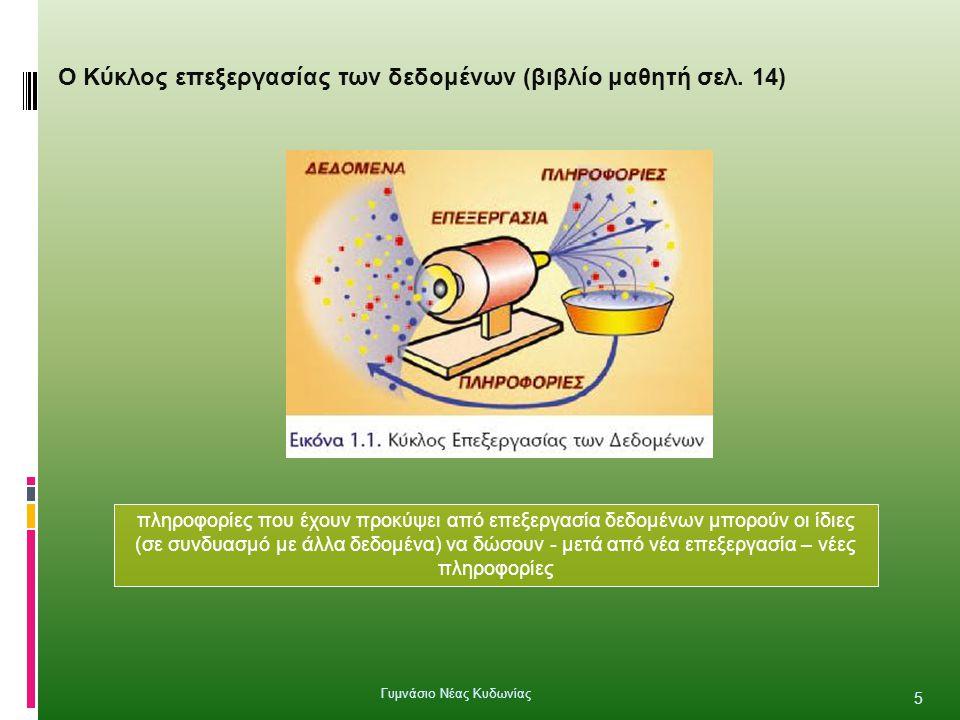 Ο Κύκλος επεξεργασίας των δεδομένων (βιβλίο μαθητή σελ. 14) πληροφορίες που έχουν προκύψει από επεξεργασία δεδομένων μπορούν οι ίδιες (σε συνδυασμό με