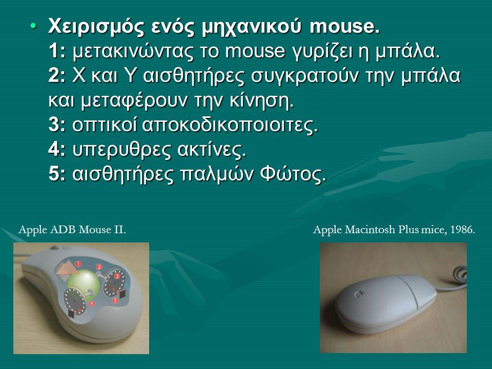 Χειρισμός ενός μηχανικού mouse. 1: μετακινώντας το mouse γυρίζει η μπάλα. 2: Χ και Υ αισθητήρες συγκρατούν την μπάλα και μεταφέρουν την κίνηση. 3: οπτ
