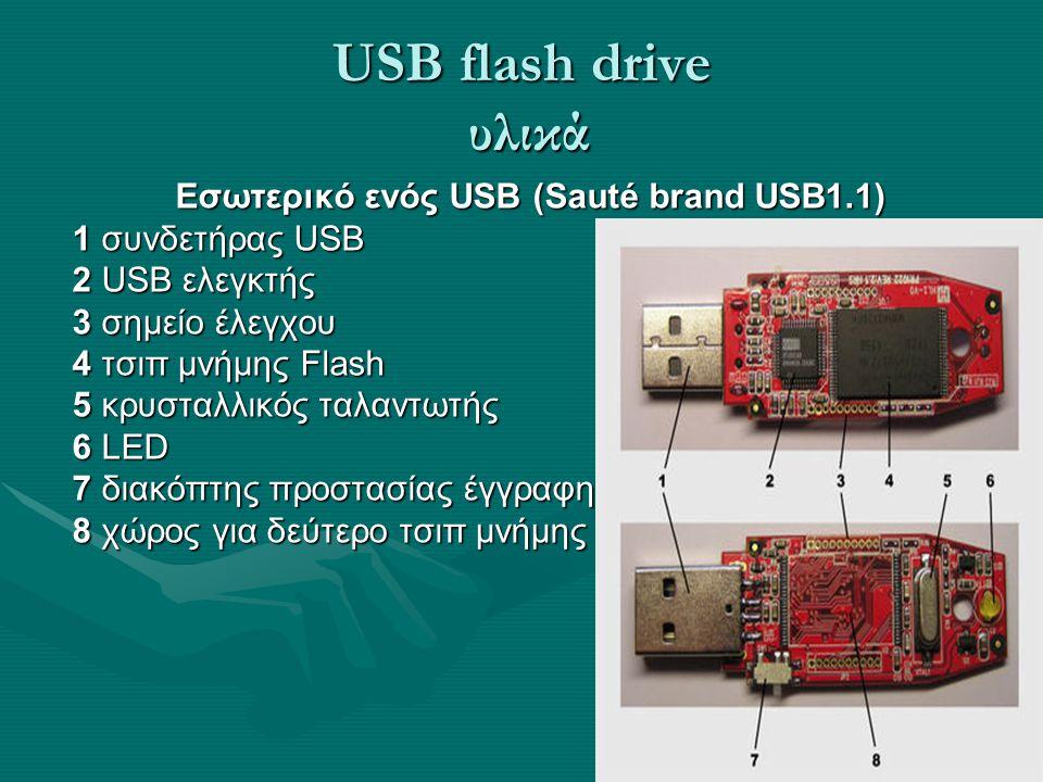 USB flash drive υλικά Εσωτερικό ενός USB (Sauté brand USB1.1) 1 συνδετήρας USB 2 USB ελεγκτής 3 σημείο έλεγχου 4 τσιπ μνήμης Flash 5 κρυσταλλικός ταλα