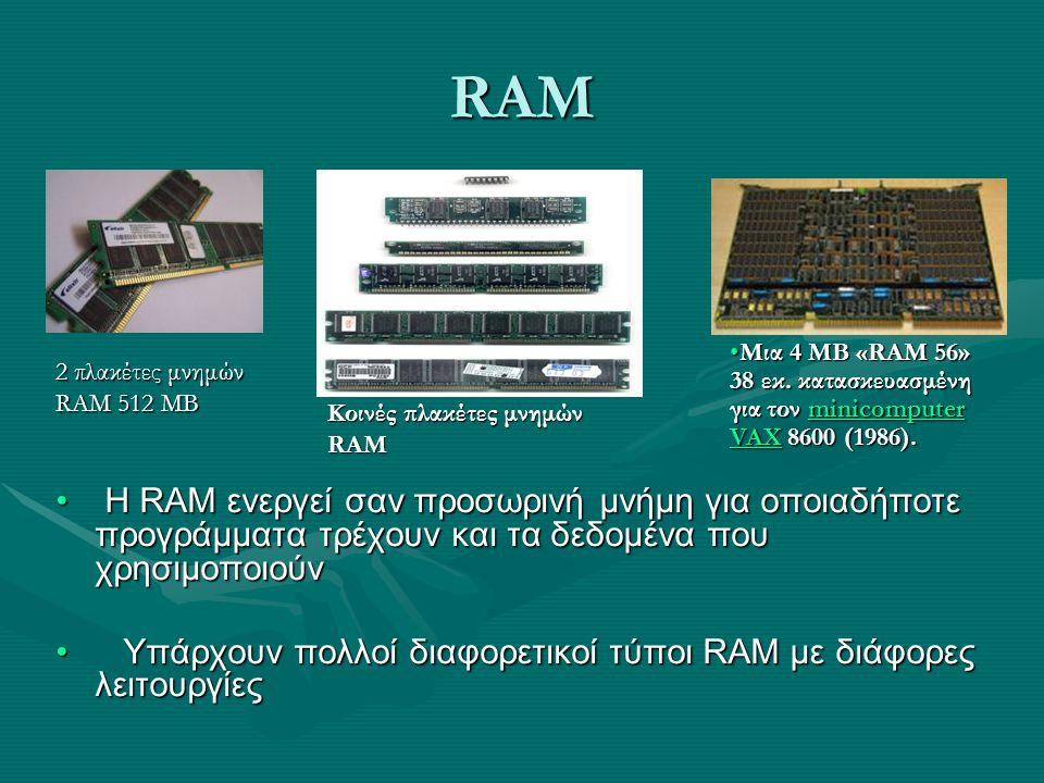 RAM Η RAM ενεργεί σαν προσωρινή μνήμη για οποιαδήποτε προγράμματα τρέχουν και τα δεδομένα που χρησιμοποιούν Η RAM ενεργεί σαν προσωρινή μνήμη για οποι