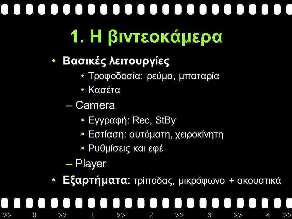 >>0 >>1 >> 2 >> 3 >> 4 >> 1. Η βιντεοκάμερα Είδη συσκευών: α) Συμβατικής ανάλυσης (768x576): 8 ή Hi8 ή Digital 8Digital 8 DVD camera DV (μικρή κασέτα,