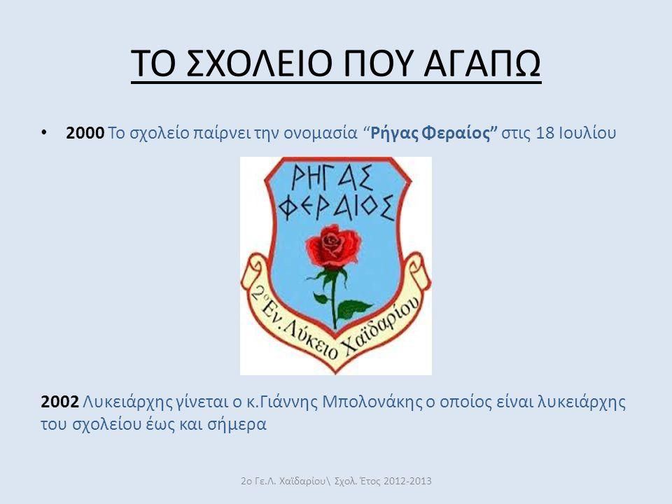 """ΤΟ ΣΧΟΛΕΙΟ ΠΟΥ ΑΓΑΠΩ 2000 Το σχολείο παίρνει την ονομασία """"Ρήγας Φεραίος"""" στις 18 Ιουλίου 2002 Λυκειάρχης γίνεται ο κ.Γιάννης Μπολονάκης ο οποίος είνα"""