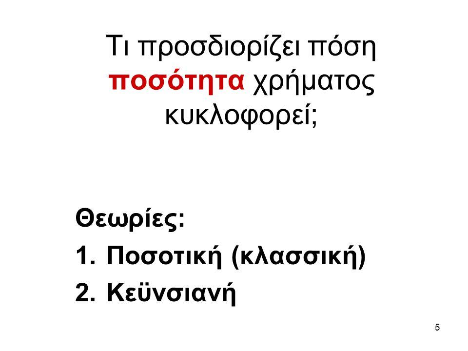 5 Τι προσδιορίζει πόση ποσότητα χρήματος κυκλοφορεί; Θεωρίες: 1.Ποσοτική (κλασσική) 2.Κεϋνσιανή