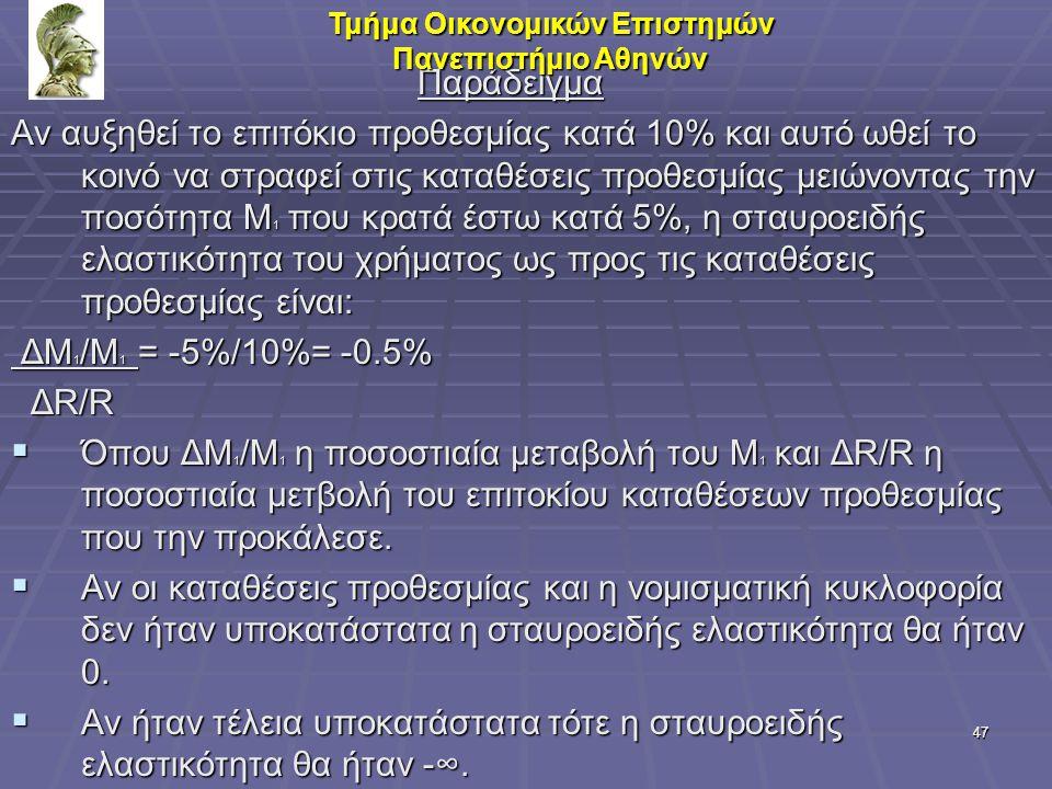 47 Παράδειγμα Παράδειγμα Αν αυξηθεί το επιτόκιο προθεσμίας κατά 10% και αυτό ωθεί το κοινό να στραφεί στις καταθέσεις προθεσμίας μειώνοντας την ποσότη