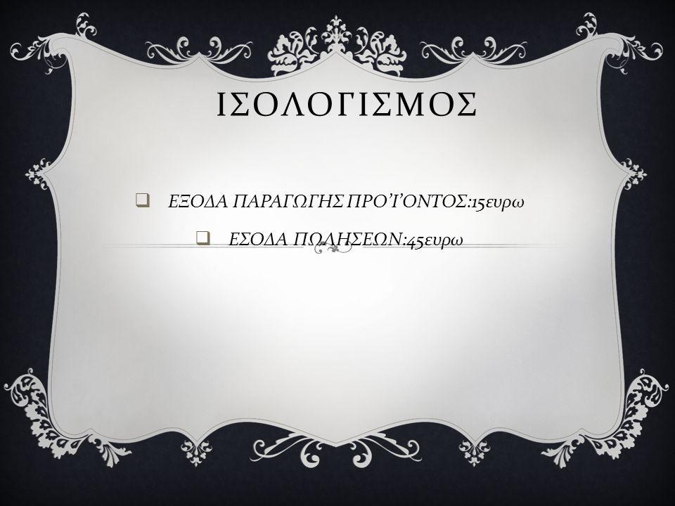 ΙΣΟΛΟΓΙΣΜΟΣ  ΕΞΟΔΑ ΠΑΡΑΓΩΓΗΣ ΠΡΟ ' Ι ' ΟΝΤΟΣ :15 ευρω  ΕΣΟΔΑ ΠΩΛΗΣΕΩΝ :45 ευρω