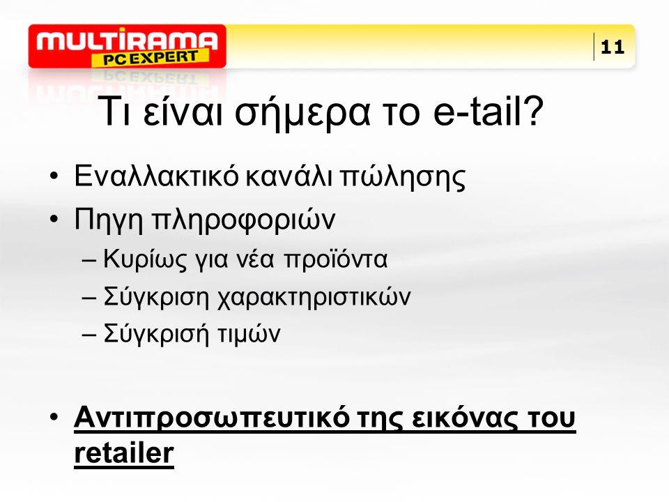 Τι είναι σήμερα το e-tail? Εναλλακτικό κανάλι πώλησης Πηγη πληροφοριών –Κυρίως για νέα προϊόντα –Σύγκριση χαρακτηριστικών –Σύγκρισή τιμών Αντιπροσωπευ