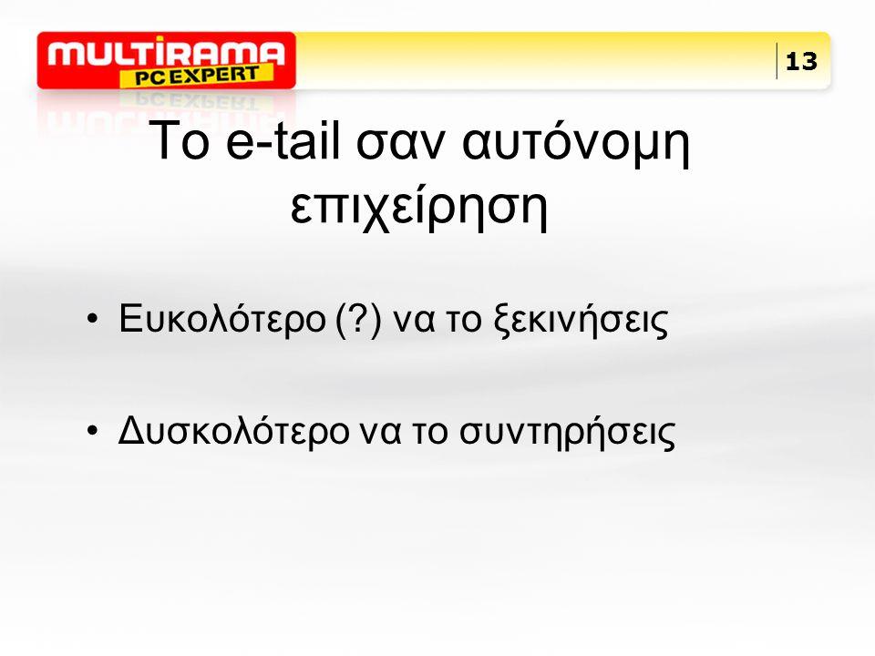 Το e-tail σαν αυτόνομη επιχείρηση Ευκολότερο (?) να το ξεκινήσεις Δυσκολότερο να το συντηρήσεις 13